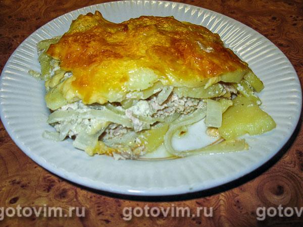 Запеканка картофельная с куриным фаршем рецепт с фото