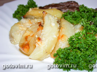 Картофель, запеченный с сыром. Фото-рецепт