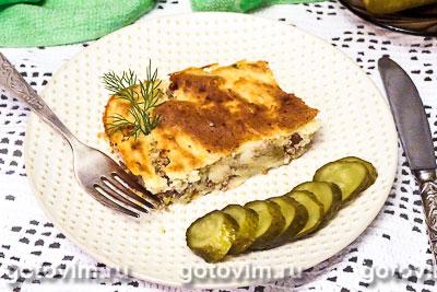 Фотография рецепта Картофельная запеканка с мясным фаршем и маринованными огурцами
