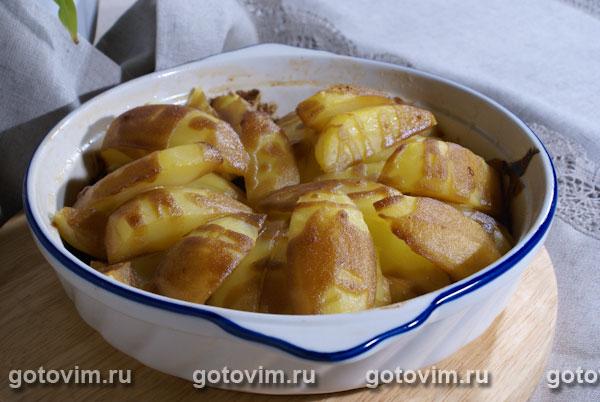 Печеный картофель с горчично-медовой заправкой. Фотография рецепта