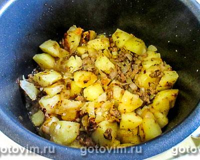 Картофельная запеканка с куриным фаршем в мультиварке