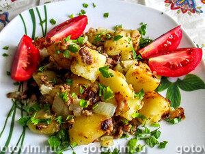 Картошка с куриным фаршем, запечённая в мультиварке