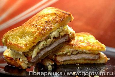 Кацу-сандо (сэндвич с тонкацу и рубленой капустой). Фотография рецепта