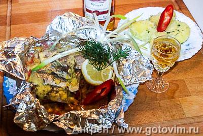 Фотография рецепта Кефаль с овощами, запеченная в фольге