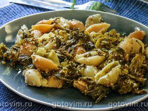 Конкильони с капустой кейл и грецкими орехами