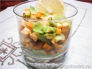Коктейль-салат с тыквой и курицей