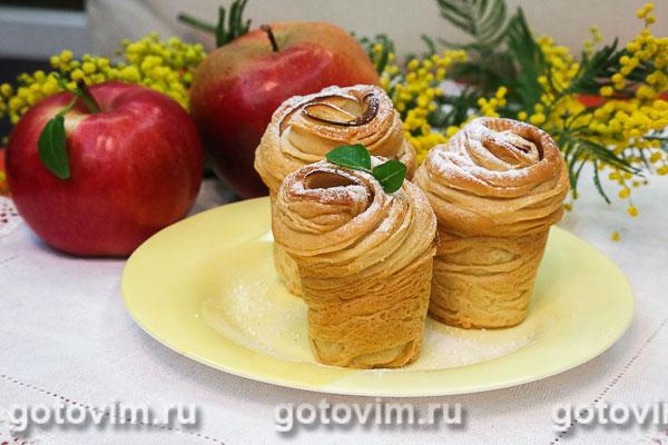 Краффины с яблоками (булочки из ложного слоеного теста). Фотография рецепта