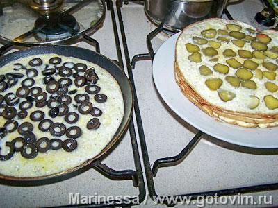 Креспу - закусочный торт из омлетов с начинками, Шаг 04