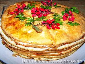 Креспу - закусочный торт из омлетов с начинками