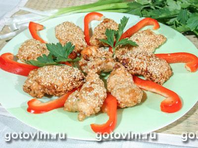 Креветки в панировке из кунжута. Фотография рецепта