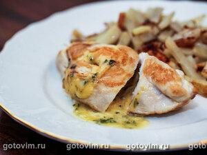 Куриные грудки с сыром и базиликом