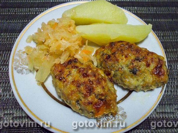 Куриные котлеты с овощами и творогом. Фотография рецепта