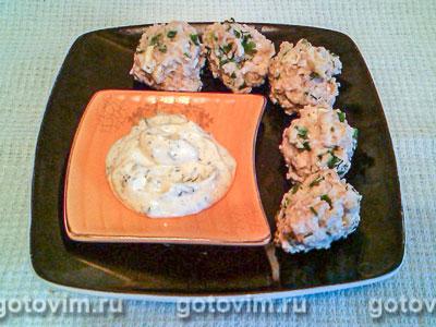 Фотография рецепта Куриные фрикадельки в чесночном соусе