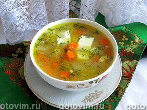 Суп картофельный с курицей, сыром и кукурузной крупой в мультиварке