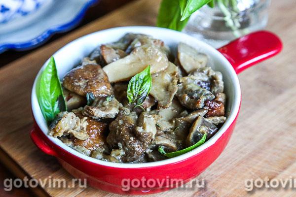 куриные желудки с грибами в духовке