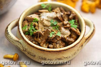 Фотография рецепта Жареная курица с лисичками в сметане