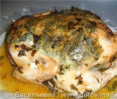 Курица, запеченная с зеленью . Фотография рецепта
