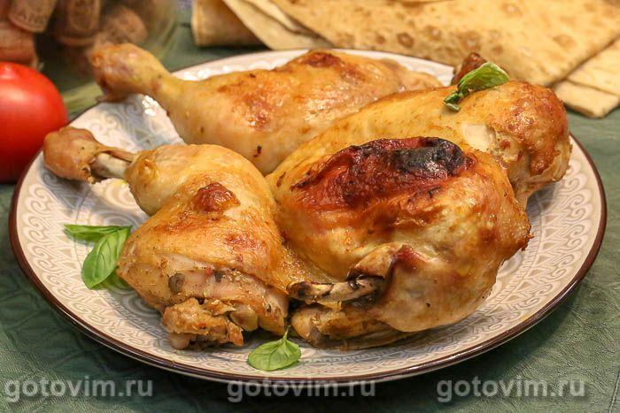 Курица в двойном маринаде, запеченная в духовке. Фотография рецепта