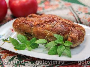 Фаршированная курица с грибами
