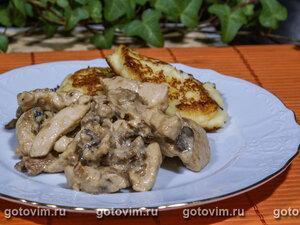 Курица со сметаной и грибами