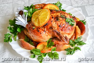Курица в имбирном маринаде с яблоками и апельсином