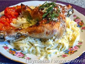 Куриные окорочка жареные с чесночным соусом