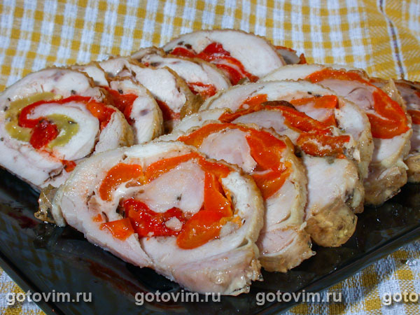 рецепт рулетов из курицы с грибами в духовке