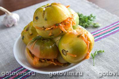 Квашенные зеленые помидоры. Фотография рецепта