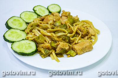 Фотография рецепта Лапша удон с кабачками и курицей