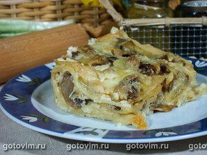 Лазанья с грибами и моцареллой