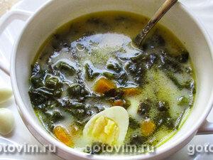 Легкий суп с щавелем и шпинатом