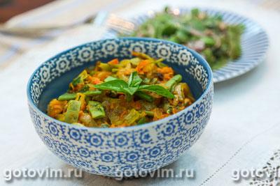 Парки лобио - стручковая фасоль с овощами. Фотография рецепта
