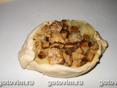 Лодочки из слоеного теста с картофельным пюре и мясом, Шаг 09