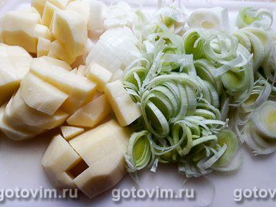 Картофельный суп-пюре с луком-пореем - рецепт пошаговый с фото