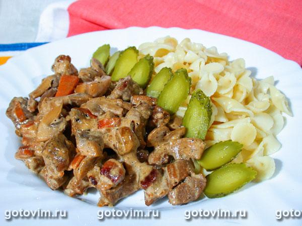 рецепт мясо с грибами в соусе рецепт