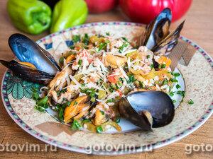 Черноморские мидии с рисом и овощами