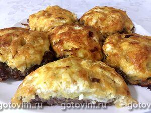 Мясные стожки из фарша с картофелем, яйцом и сыром