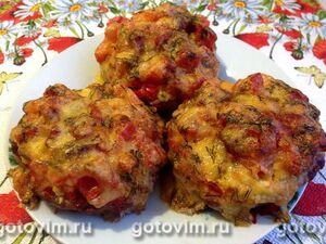 Мясные гнезда из говяжьего фарша с яично-сырной начинкой