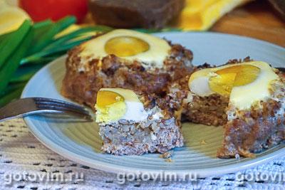 Фотография рецепта Гнезда из фарша с гречкой, грибами и яйцами