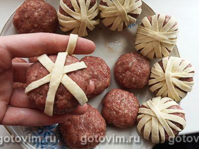 Слойки с куриным фаршем и репчатым луком в духовке - рецепт пошаговый с фото