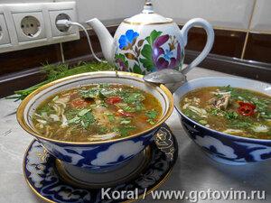 Нухат шурпа (мясной суп с горохом)