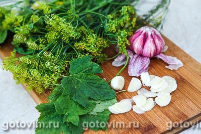Малосольные огурцы с листьями черной смородины, Шаг 01