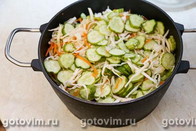 Салат из капусты с огурцами и морковью по-корейски (на зиму), Шаг 04