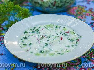 Овощная  окрошка на кефире и минеральной водой