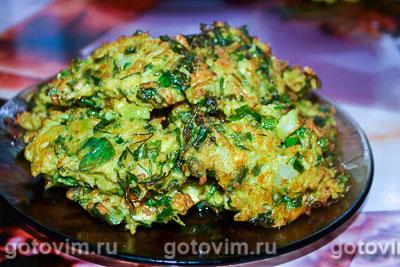 Фотография рецепта Оладьи из цветной капусты со стручковой фасолью