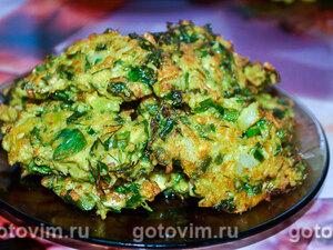 Оладьи из цветной капусты со стручковой фасолью