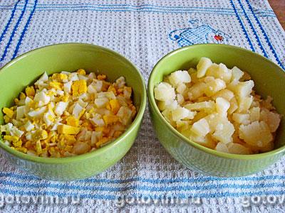 Салат «Оливье» из куриных сердечек и молодых овощей, Шаг 04
