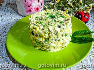 Салат «Оливье» из куриных сердечек и молодых овощей