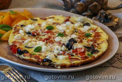 Греческий омлет с помидорами, маслинами и брынзой
