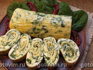 Яичный рулет со шпинатом и сыром